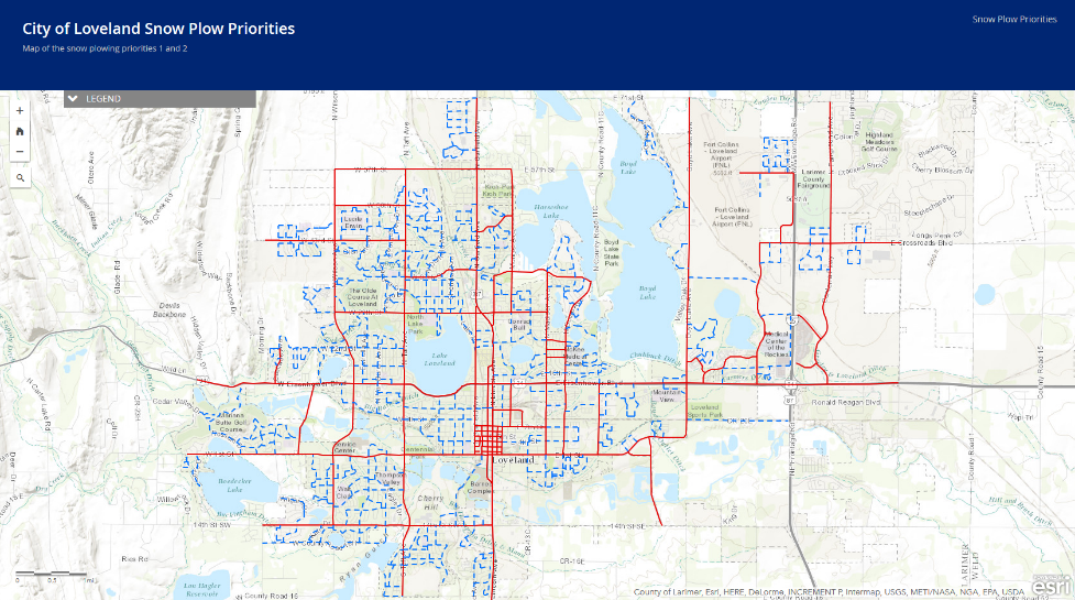 Snow Priority ArcGIS online interactive map and link