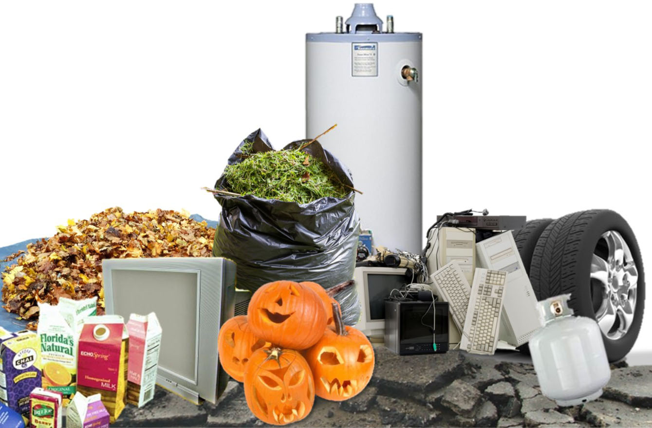 Various items recyclable at the Center: grass, leaves, tires, plastics, small appliances