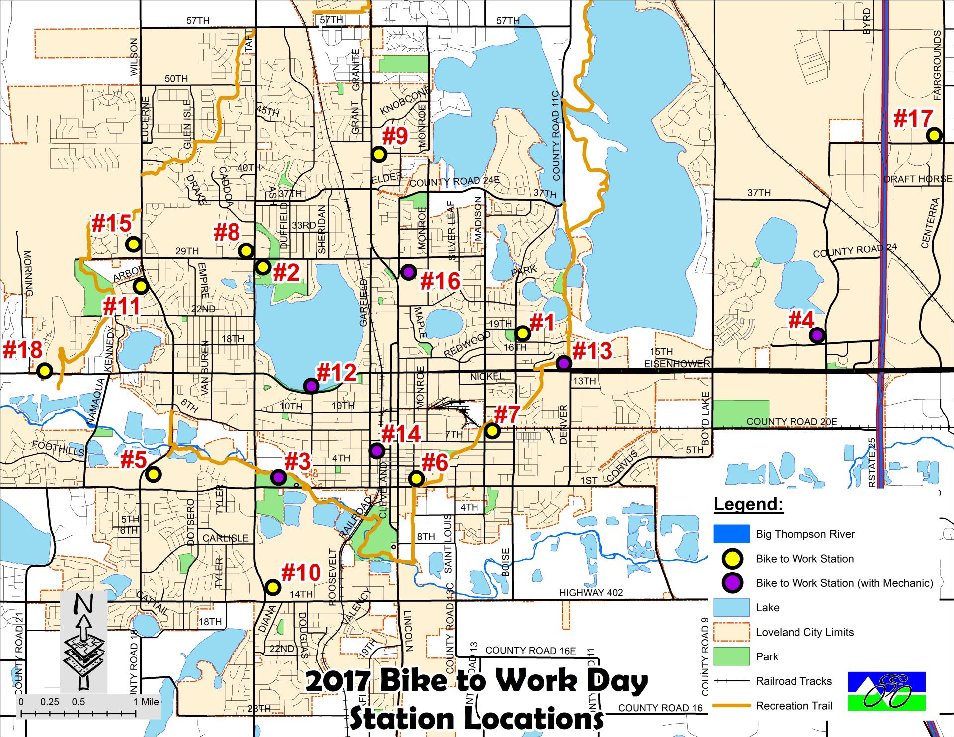 Bike to Work Station location map