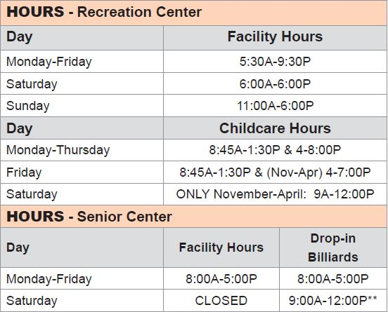 Chilson Center Hours 2018