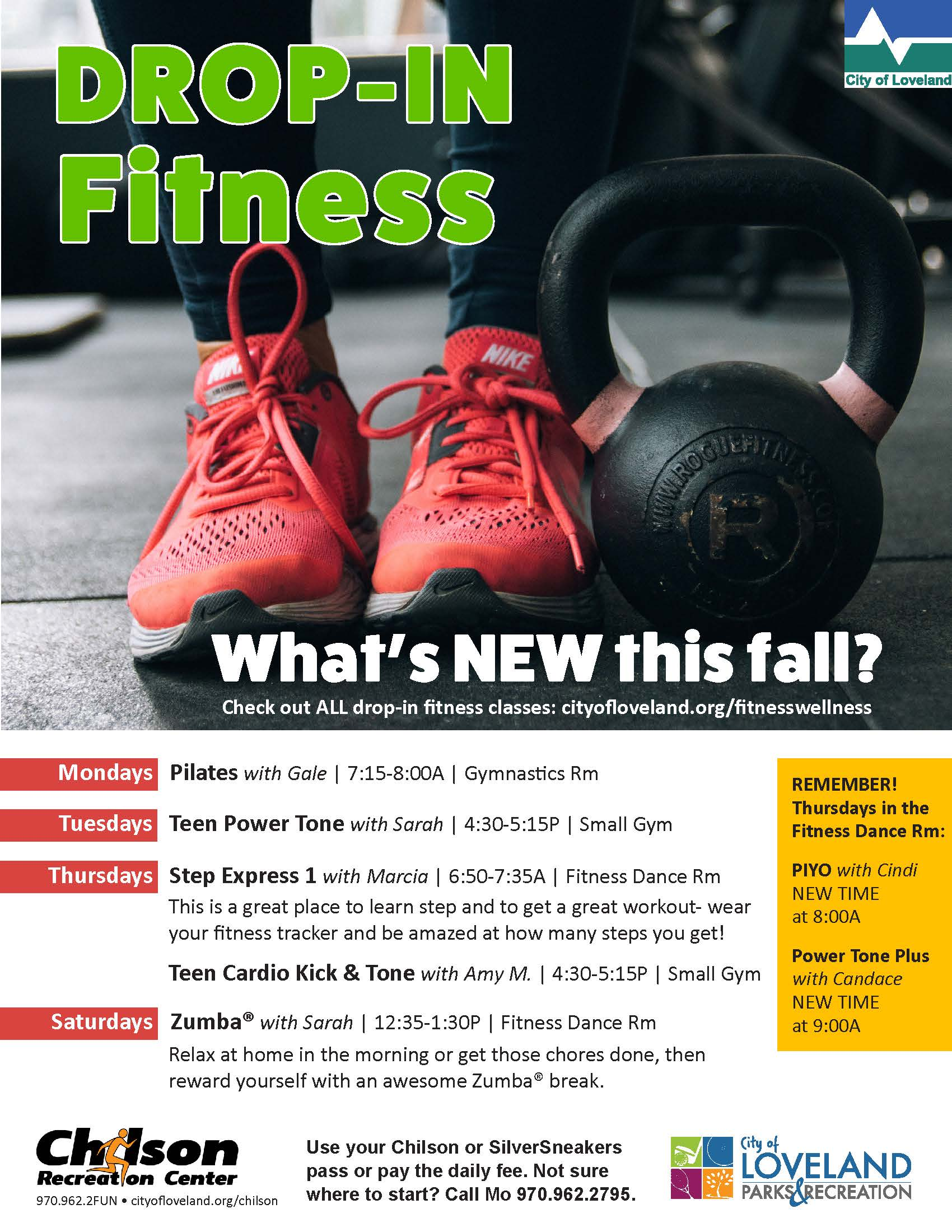 New drop-in classes this fall at Chilson Rec Center