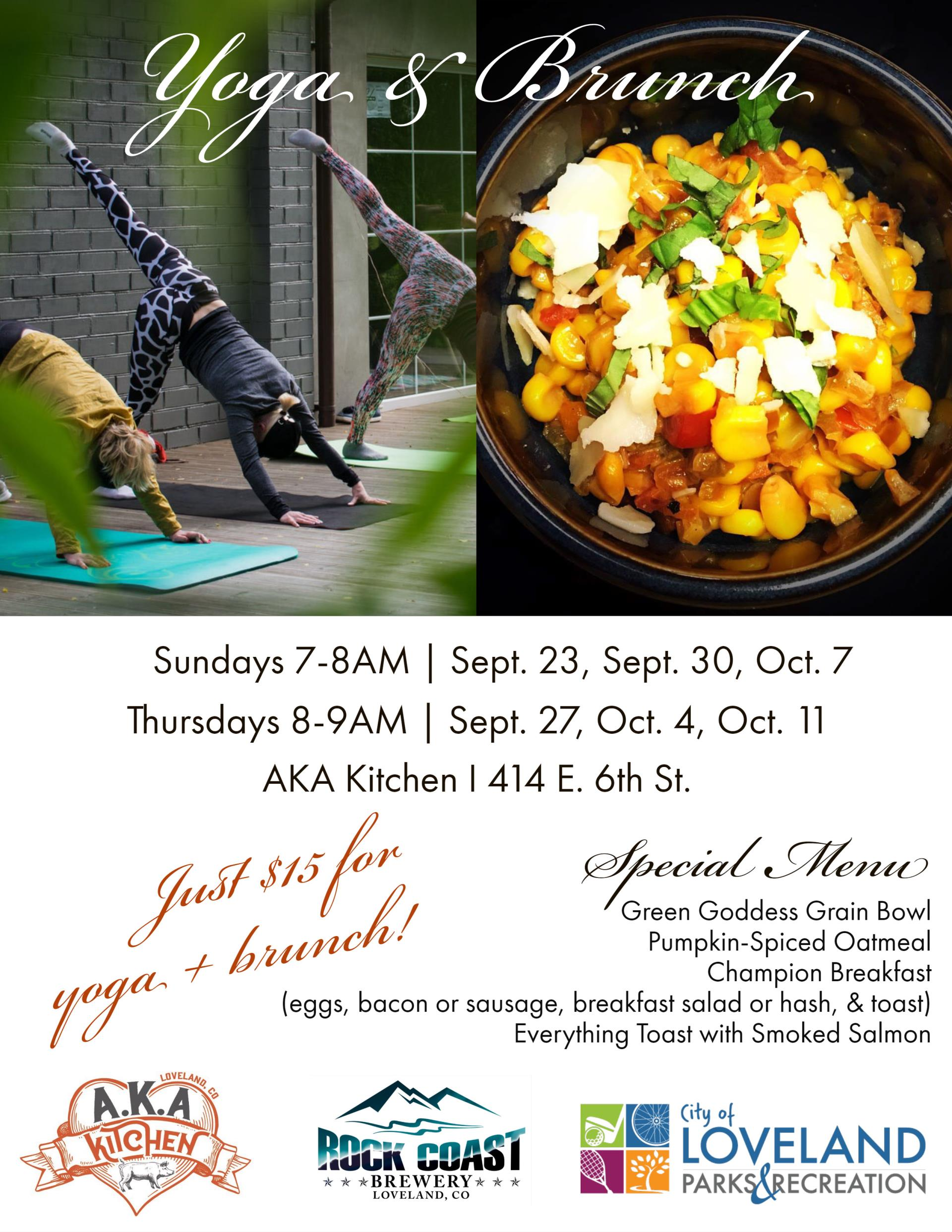 Yoga and brunch at AKA Kitchen in Loveland