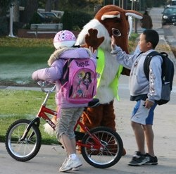 Safe Routes to School mascot, Smarty Fox with school children