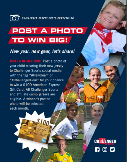 88e542298 Post a photo of your child wearing any Challenger Sports jersey and you  could win a  100 gift card!