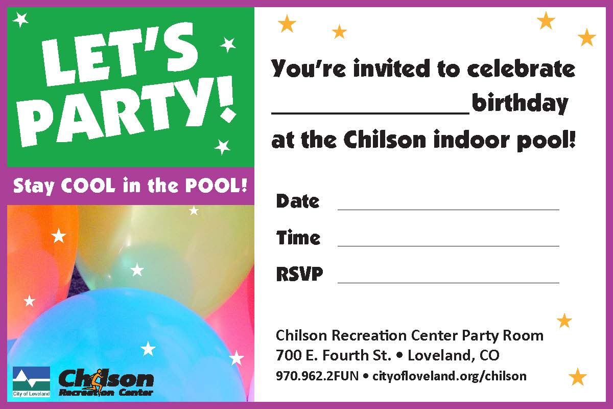 Chilson Center pool party invitation