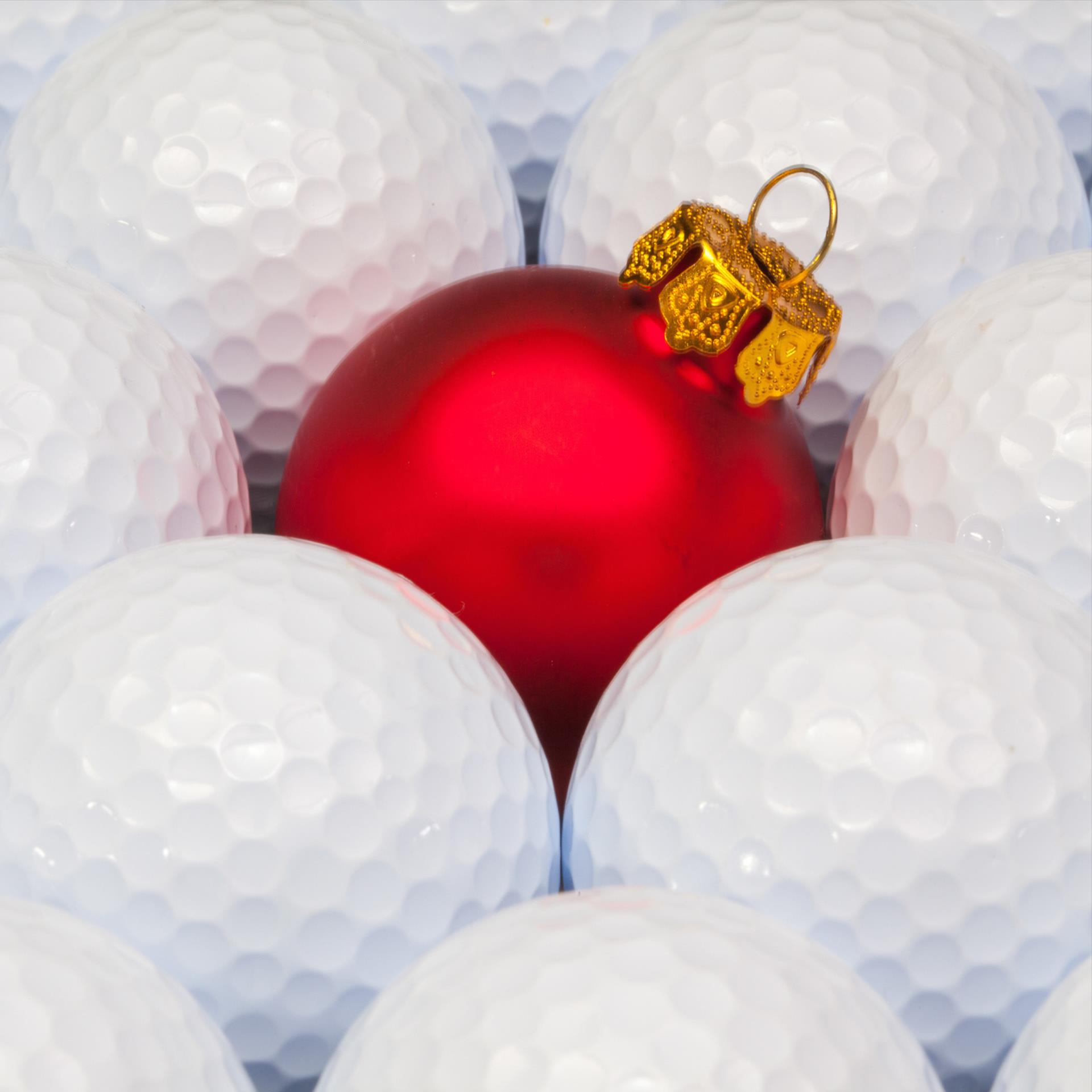 Christmas ornament in golf balls