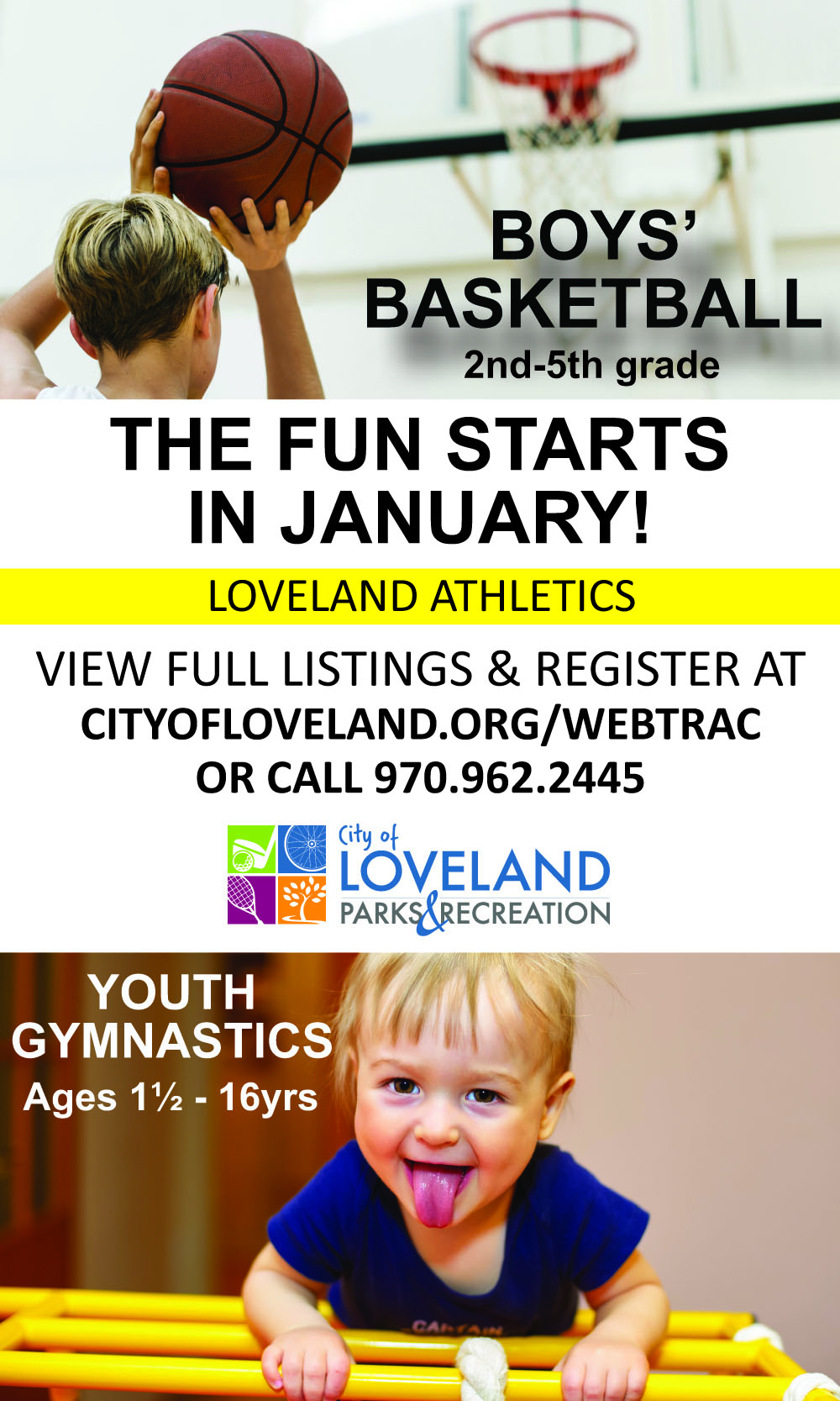 boys' basketball and youth gymnastics in Loveland