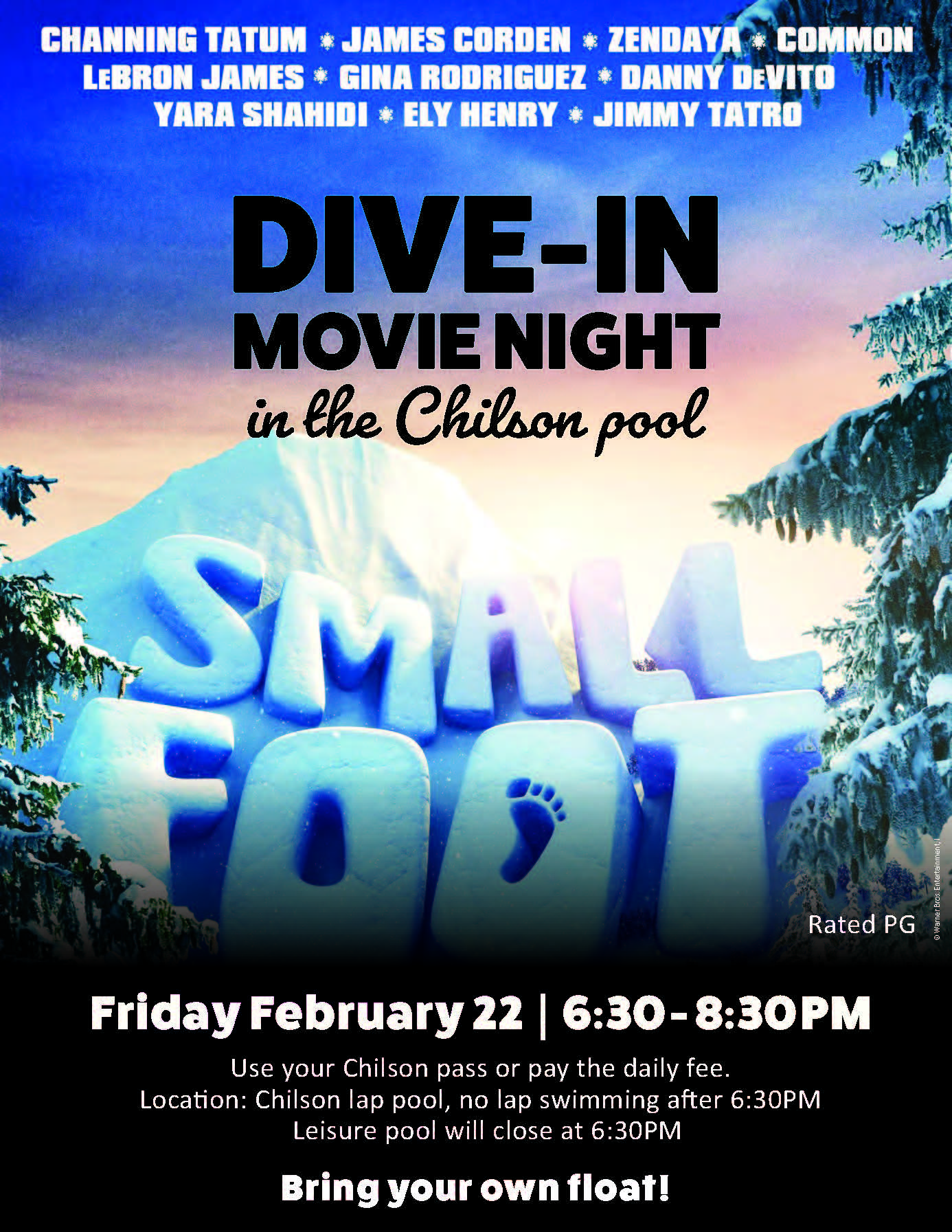 Small Foot movie at Chilson pool