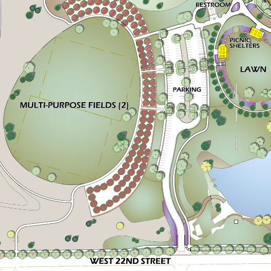 map of Mehaffey Park Arbor Day event