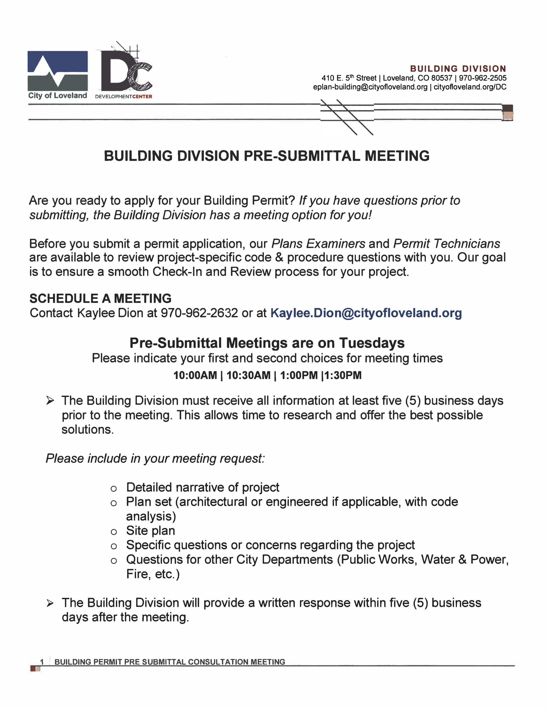 Pre-Submittal Meeting | City of Loveland