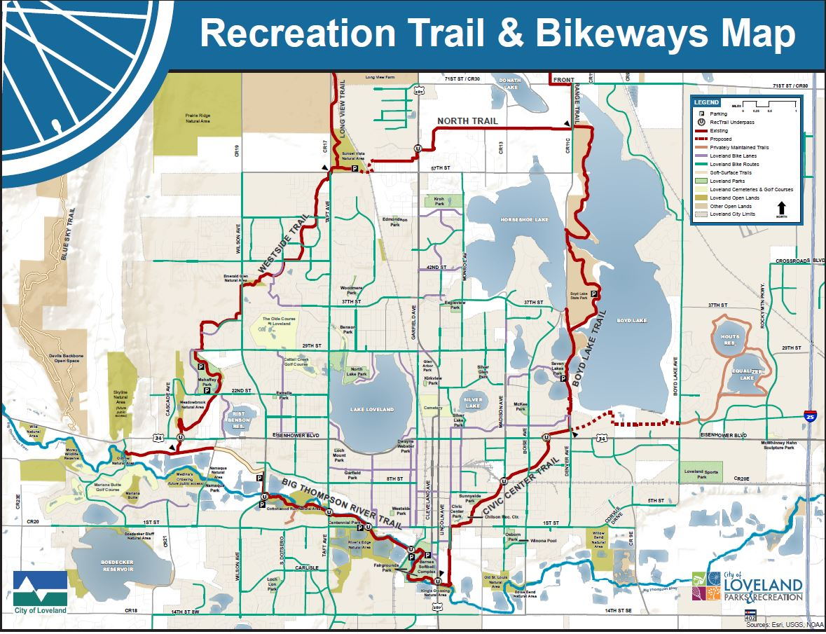 map of Loveland recreation trail and bikeways