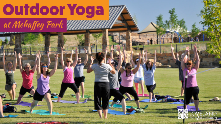 people doing yoga at Mehaffey Park