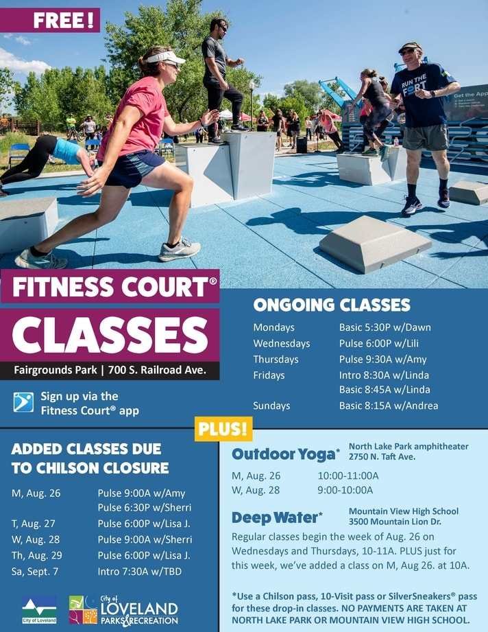 Fitness Court classes, yoga and deep water schedule