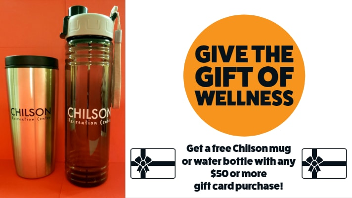 Chilson Recreation Center coffee mug and water bottle