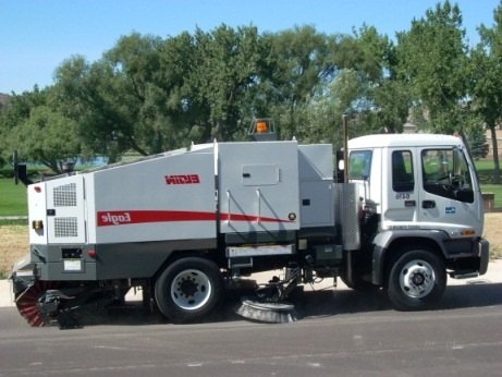 Street sweeper side view